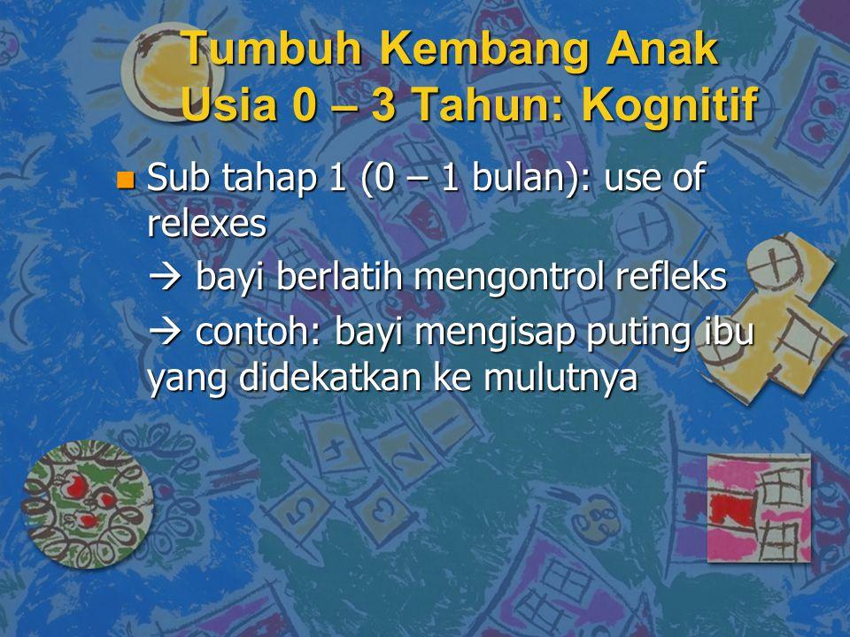 n Sub tahap 1 (0 – 1 bulan): use of relexes  bayi berlatih mengontrol refleks  contoh: bayi mengisap puting ibu yang didekatkan ke mulutnya Tumbuh Kembang Anak Usia 0 – 3 Tahun: Kognitif