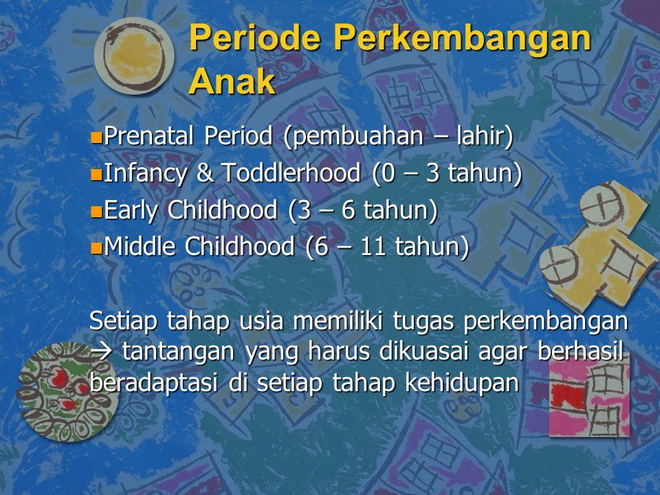 Periode Perkembangan Anak n Prenatal Period (pembuahan – lahir) n Infancy & Toddlerhood (0 – 3 tahun) n Early Childhood (3 – 6 tahun) n Middle Childhood (6 – 11 tahun) Setiap tahap usia memiliki tugas perkembangan  tantangan yang harus dikuasai agar berhasil beradaptasi di setiap tahap kehidupan