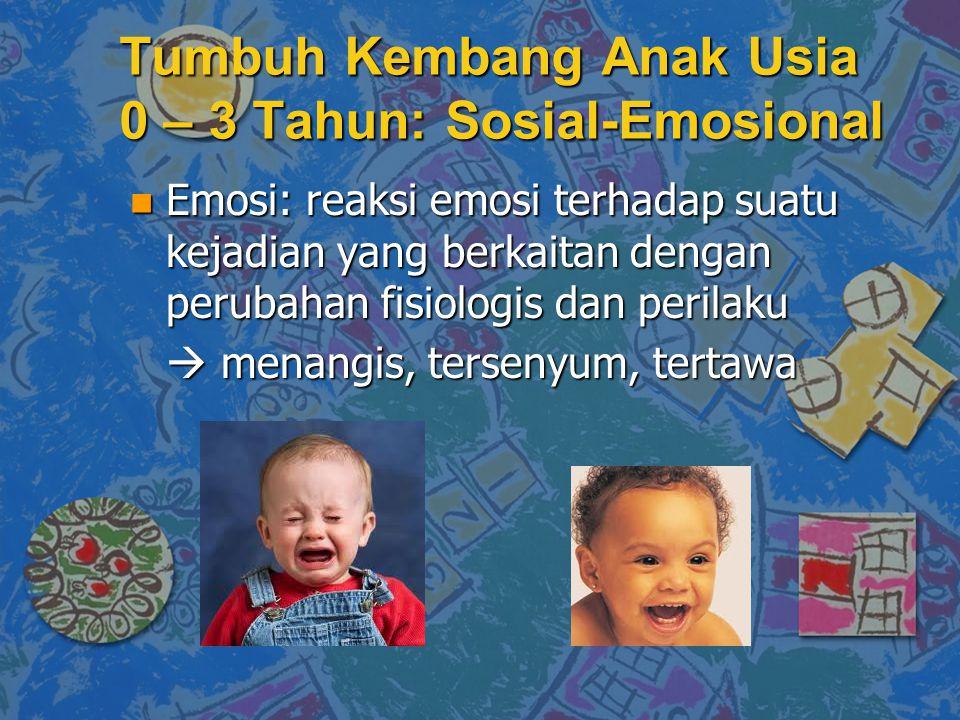 Tumbuh Kembang Anak Usia 0 – 3 Tahun: Sosial-Emosional n Emosi: reaksi emosi terhadap suatu kejadian yang berkaitan dengan perubahan fisiologis dan perilaku  menangis, tersenyum, tertawa