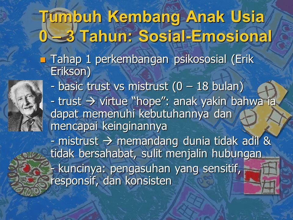 Tumbuh Kembang Anak Usia 0 – 3 Tahun: Sosial-Emosional n Tahap 1 perkembangan psikososial (Erik Erikson) - basic trust vs mistrust (0 – 18 bulan) - tr