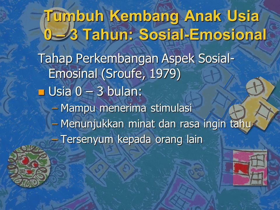 Tahap Perkembangan Aspek Sosial- Emosinal (Sroufe, 1979) n Usia 0 – 3 bulan: –Mampu menerima stimulasi –Menunjukkan minat dan rasa ingin tahu –Tersenyum kepada orang lain Tumbuh Kembang Anak Usia 0 – 3 Tahun: Sosial-Emosional