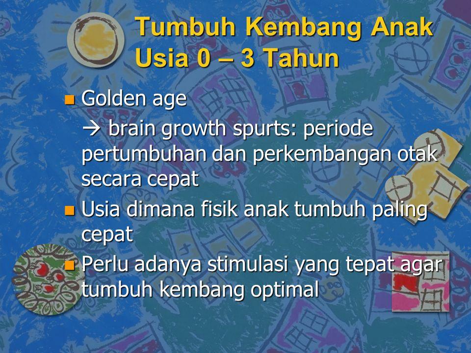 Tumbuh Kembang Anak Usia 0 – 3 Tahun n Golden age  brain growth spurts: periode pertumbuhan dan perkembangan otak secara cepat n Usia dimana fisik anak tumbuh paling cepat n Perlu adanya stimulasi yang tepat agar tumbuh kembang optimal