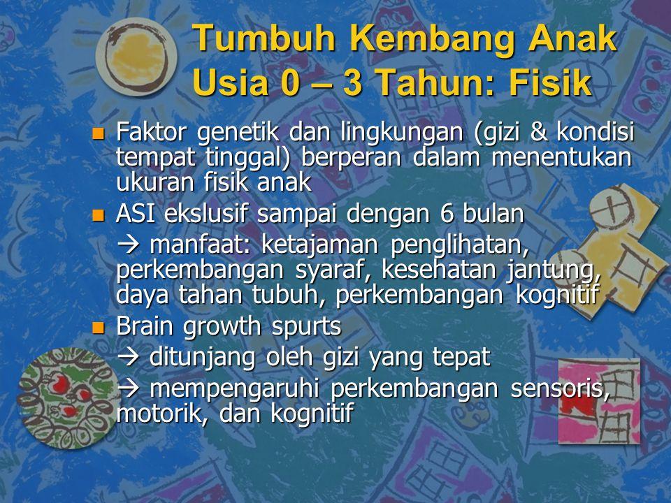 Tumbuh Kembang Anak Usia 0 – 3 Tahun: Fisik n Faktor genetik dan lingkungan (gizi & kondisi tempat tinggal) berperan dalam menentukan ukuran fisik ana