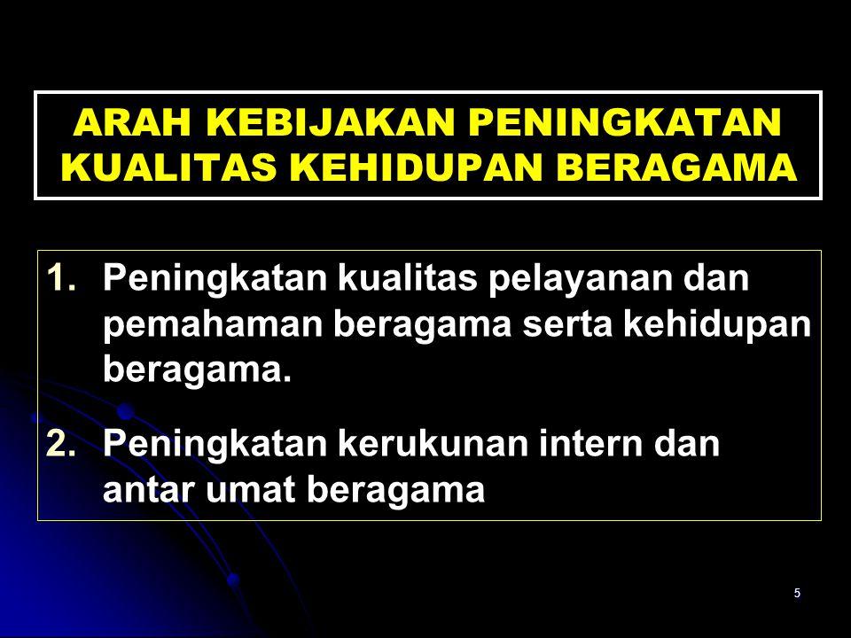 5 ARAH KEBIJAKAN PENINGKATAN KUALITAS KEHIDUPAN BERAGAMA 1.