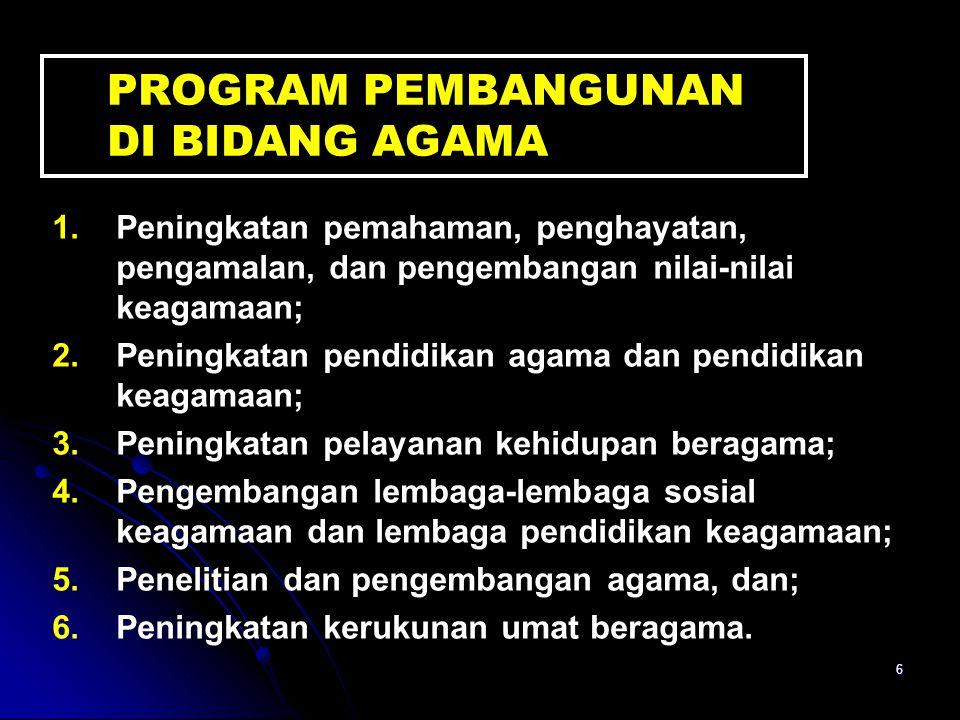 7 VISI DEPAG Terwujudnya masyarakat Indonesia yang taat beragama, maju, sejahtera, dan cerdas serta saling menghormati antar sesama pemeluk agama dalam kehidupan bermasyarakat, berbangsa, dan bernegara dalam wadah Negara Kesatuan Republik Indonesia