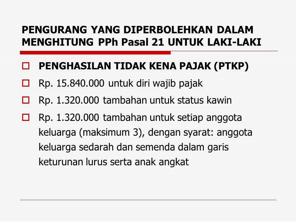 PENGURANG YANG DIPERBOLEHKAN DALAM MENGHITUNG PPh Pasal 21 UNTUK LAKI-LAKI  PENGHASILAN TIDAK KENA PAJAK (PTKP)  Rp. 15.840.000 untuk diri wajib paj