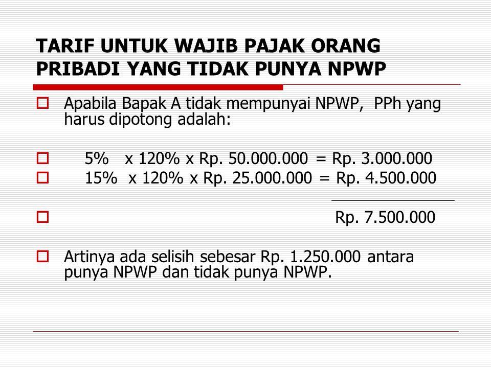 TARIF UNTUK WAJIB PAJAK ORANG PRIBADI YANG TIDAK PUNYA NPWP  Apabila Bapak A tidak mempunyai NPWP, PPh yang harus dipotong adalah:  5% x 120% x Rp.