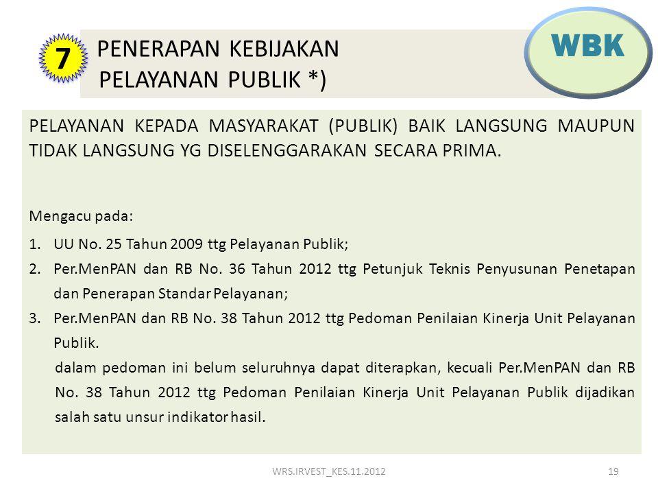 PELAYANAN KEPADA MASYARAKAT (PUBLIK) BAIK LANGSUNG MAUPUN TIDAK LANGSUNG YG DISELENGGARAKAN SECARA PRIMA. Mengacu pada: 1.UU No. 25 Tahun 2009 ttg Pel