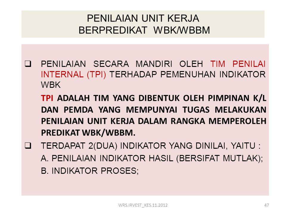 PENILAIAN UNIT KERJA BERPREDIKAT WBK/WBBM  PENILAIAN SECARA MANDIRI OLEH TIM PENILAI INTERNAL (TPI) TERHADAP PEMENUHAN INDIKATOR WBK TPI ADALAH TIM Y