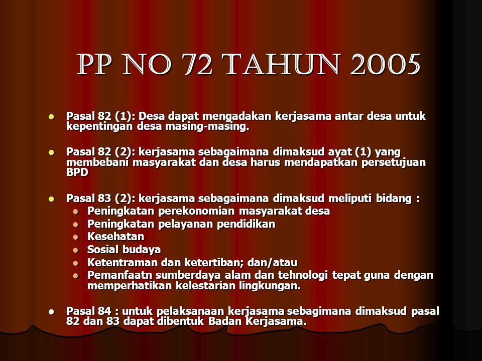 PP no 72 tahun 2005  Pasal 82 (1): Desa dapat mengadakan kerjasama antar desa untuk kepentingan desa masing-masing.  Pasal 82 (2): kerjasama sebagai
