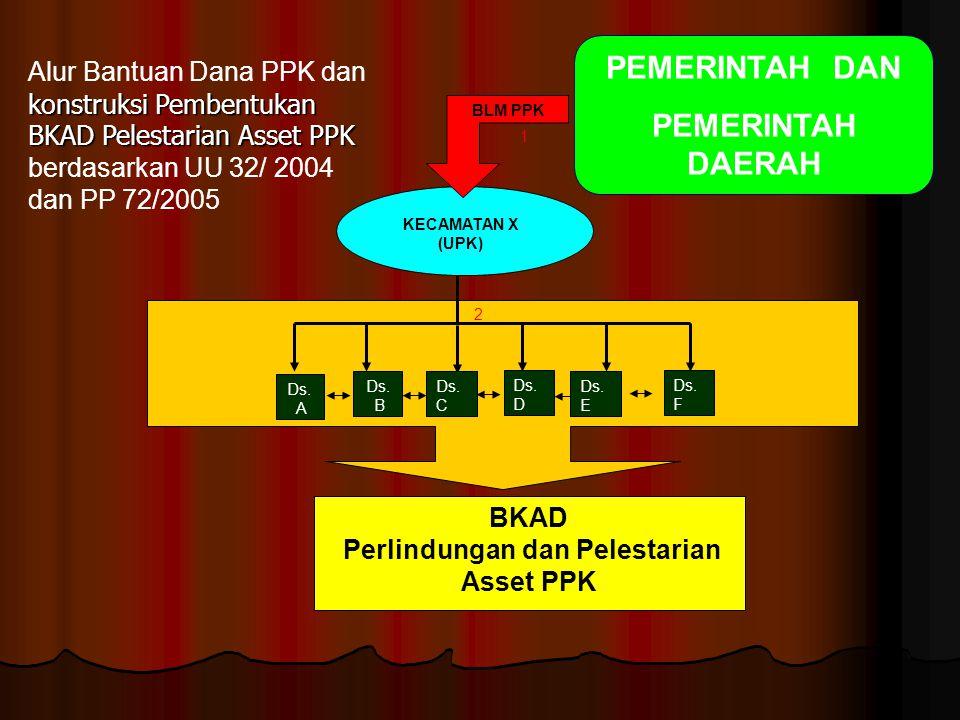 KECAMATAN X (UPK) BLM PPK Ds. A Ds. C Ds. B BKAD Perlindungan dan Pelestarian Asset PPK 1 Ds. D Ds. F Ds. E 2 konstruksi Pembentukan BKAD Pelestarian