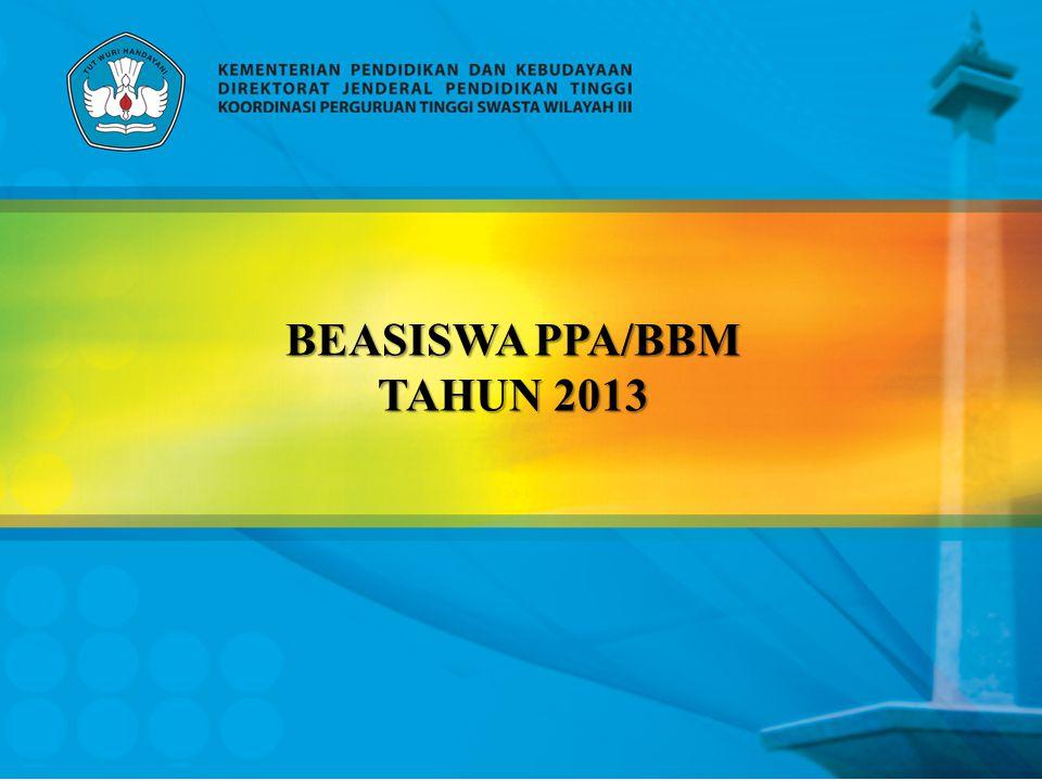ALOKASI BEASISWA ON GOING THN 2013 JENJANG DIPLOMA 3 LAPORAN BEASISWA TAHUN 2012 LANJUTAN BEASISWA TAHUN 2013 KETERANGAN JAN-FEBMAR-AGSSEP-DESJAN-FEBMAR-AGSSEP-DES SEM 5SEM 6TIDAK DAPAT SEM 3SEM 4SEM 5 (4)SEM 5 (2)SEM 6 (6)10 –12 BLN SEM 1SEM 2SEM 3 (4)SEM 3 (2)SEM 4 (6)SEM 5 (4)12 BLN