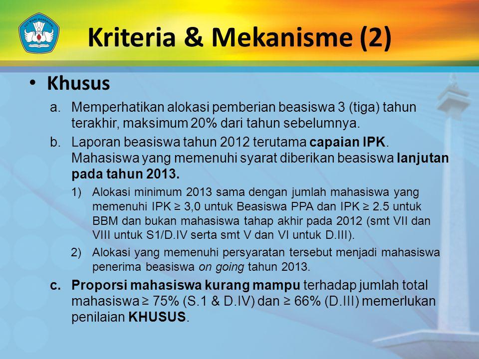 • Khusus a.Memperhatikan alokasi pemberian beasiswa 3 (tiga) tahun terakhir, maksimum 20% dari tahun sebelumnya. b.Laporan beasiswa tahun 2012 terutam