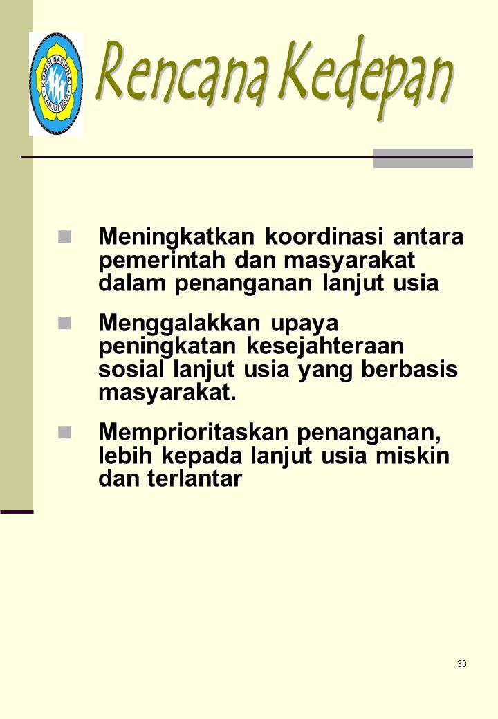 29 d. Supervisi, Monitoring & Evaluasi •Supervisi, Monitoring pelaksanaan kegiatan Komda •Evaluasi pelaksanaan program kerja Komnas Lansia e. Kegiatan