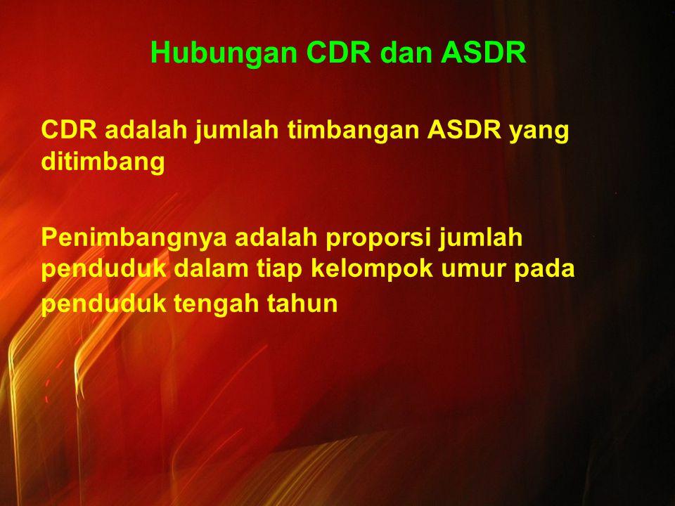 Hubungan CDR dan ASDR CDR adalah jumlah timbangan ASDR yang ditimbang Penimbangnya adalah proporsi jumlah penduduk dalam tiap kelompok umur pada pendu