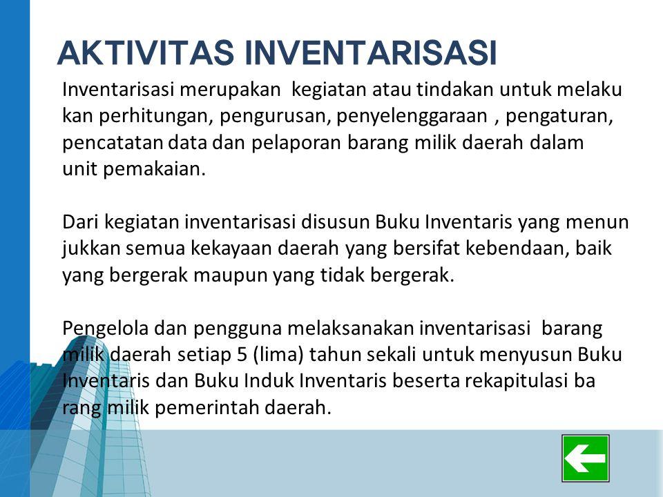 AKTIVITAS INVENTARISASI Inventarisasi merupakan kegiatan atau tindakan untuk melaku kan perhitungan, pengurusan, penyelenggaraan, pengaturan, pencatat