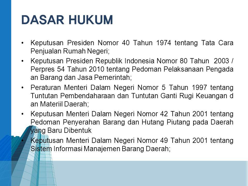 •Keputusan Presiden Nomor 40 Tahun 1974 tentang Tata Cara Penjualan Rumah Negeri; •Keputusan Presiden Republik Indonesia Nomor 80 Tahun 2003 / Perpres