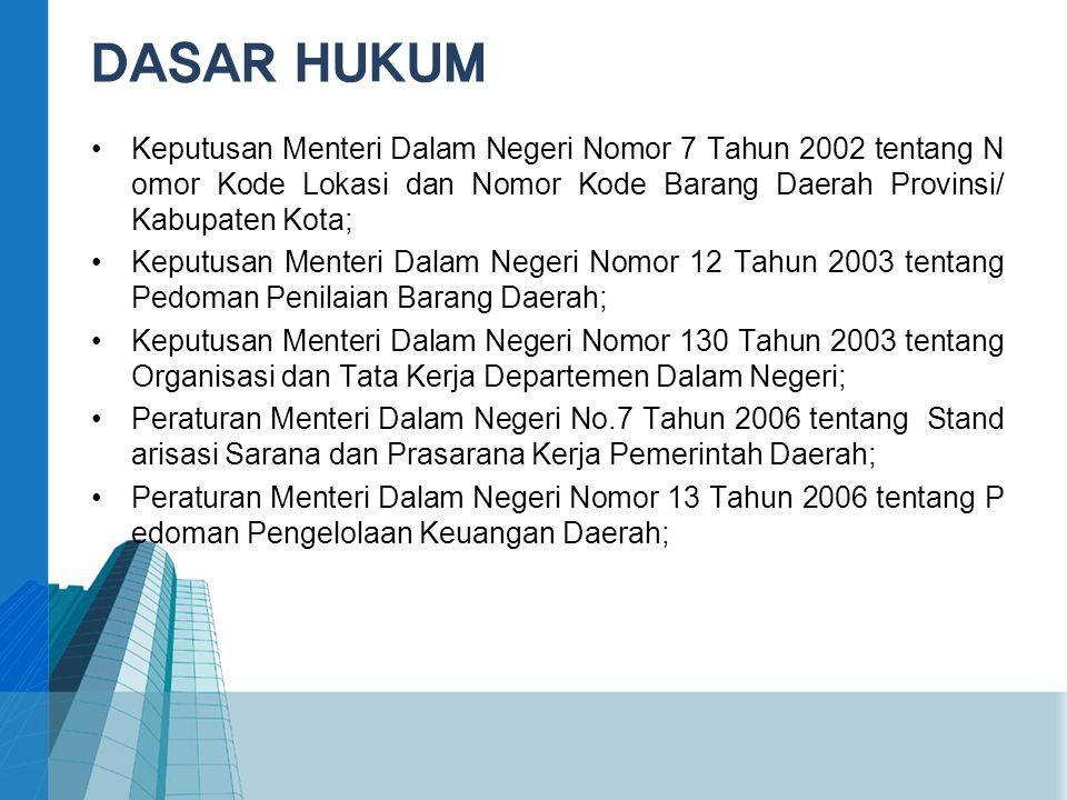 •Keputusan Menteri Dalam Negeri Nomor 7 Tahun 2002 tentang N omor Kode Lokasi dan Nomor Kode Barang Daerah Provinsi/ Kabupaten Kota; •Keputusan Menter