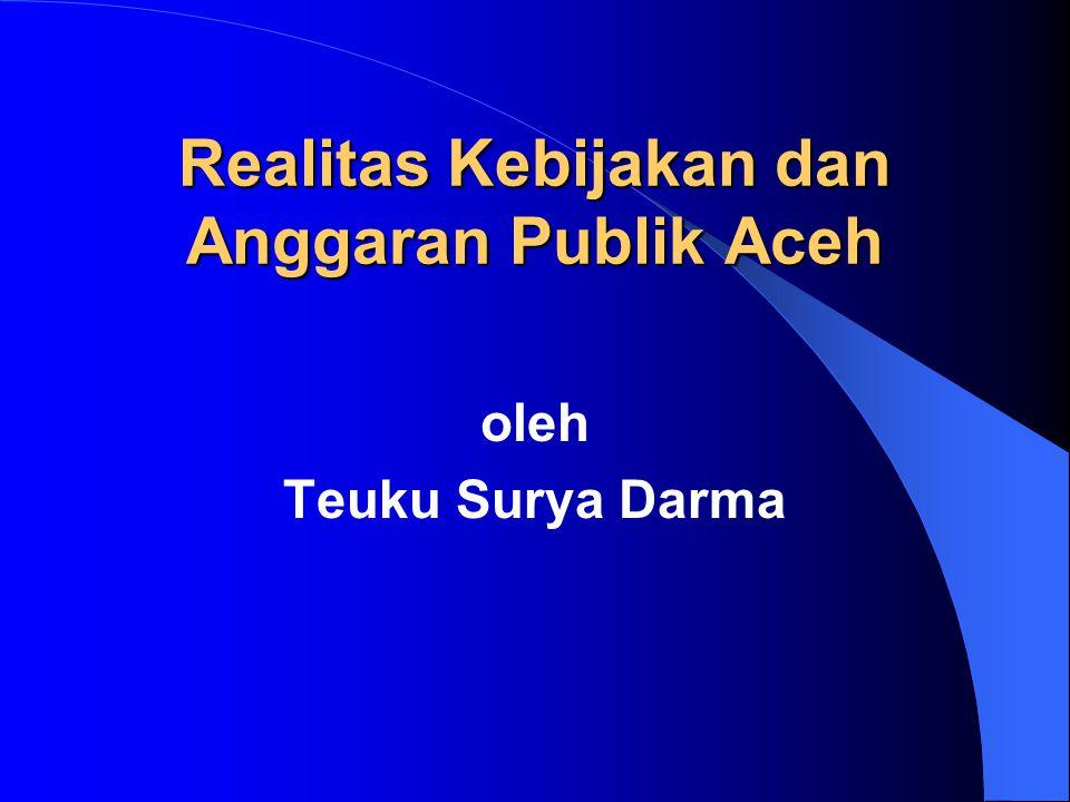 oleh Teuku Surya Darma Realitas Kebijakan dan Anggaran Publik Aceh
