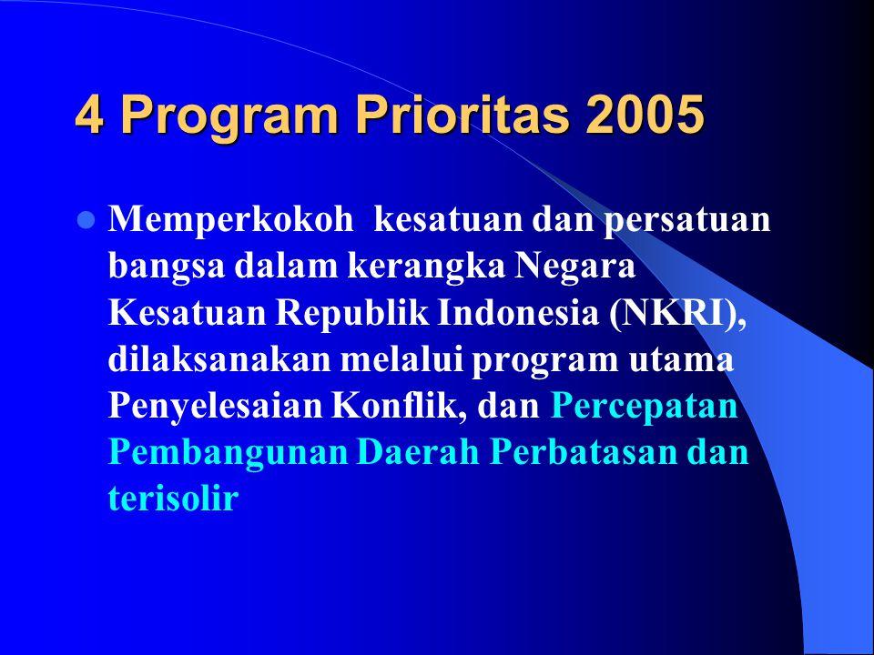 4 Program Prioritas 2005  Memperkokoh kesatuan dan persatuan bangsa dalam kerangka Negara Kesatuan Republik Indonesia (NKRI), dilaksanakan melalui program utama Penyelesaian Konflik, dan Percepatan Pembangunan Daerah Perbatasan dan terisolir