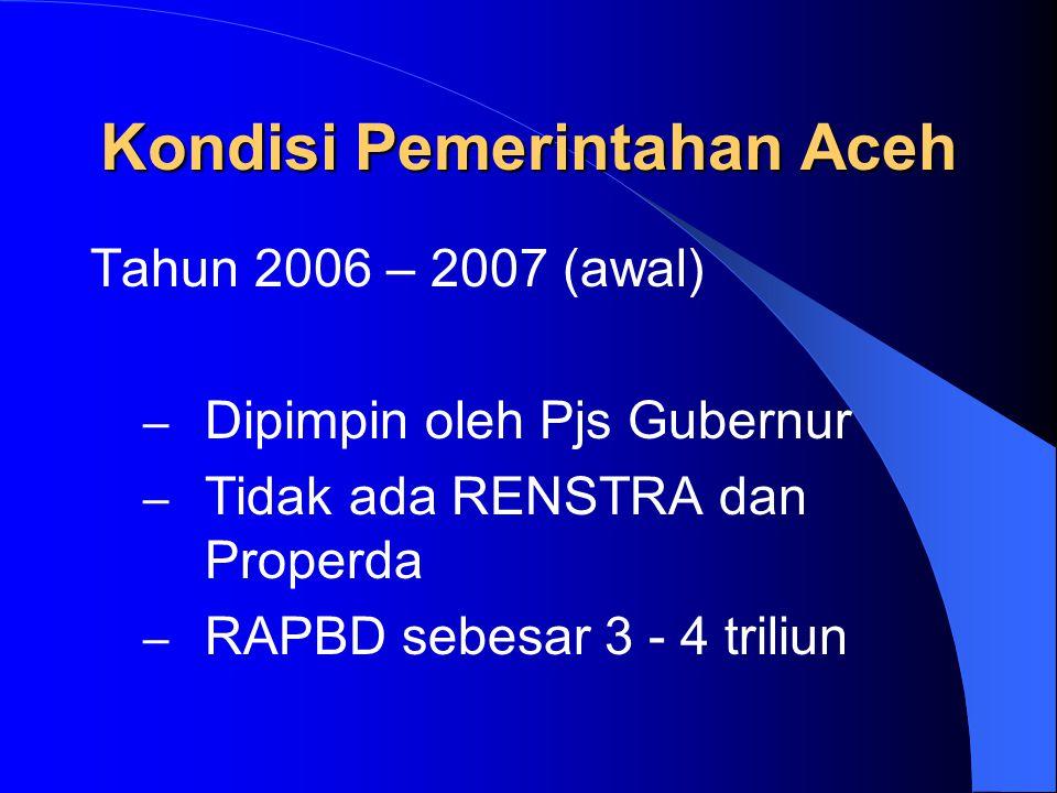 Kondisi Pemerintahan Aceh Tahun 2005 – 2006 : – Dipimpin oleh Pjs Gubernur – Tidak ada RENSTRA dan Properda – APBD sebesar 2,5 triliun