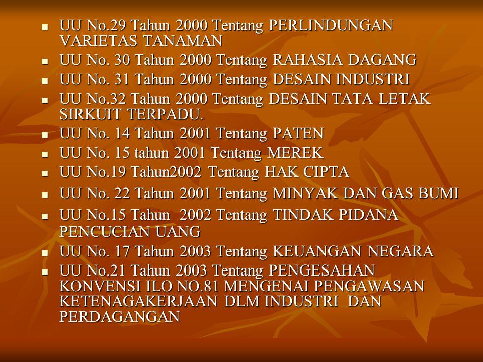  UU No.29 Tahun 2000 Tentang PERLINDUNGAN VARIETAS TANAMAN  UU No. 30 Tahun 2000 Tentang RAHASIA DAGANG  UU No. 31 Tahun 2000 Tentang DESAIN INDUST