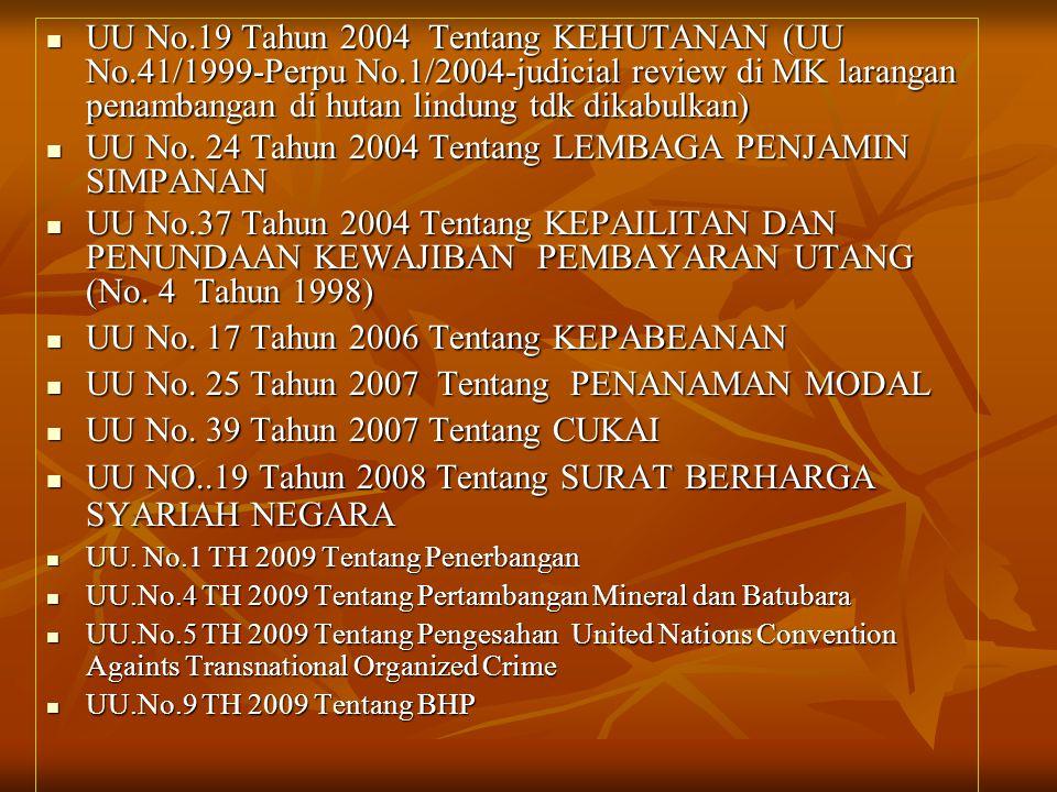  UU No.19 Tahun 2004 Tentang KEHUTANAN (UU No.41/1999-Perpu No.1/2004-judicial review di MK larangan penambangan di hutan lindung tdk dikabulkan)  U