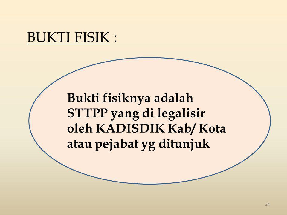 24 BUKTI FISIK : Bukti fisiknya adalah STTPP yang di legalisir oleh KADISDIK Kab/ Kota atau pejabat yg ditunjuk