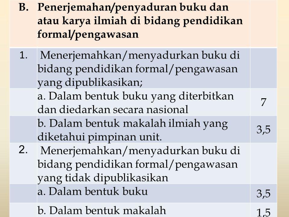 B.Penerjemahan/penyaduran buku dan atau karya ilmiah di bidang pendidikan formal/pengawasan 1. Menerjemahkan/menyadurkan buku di bidang pendidikan for