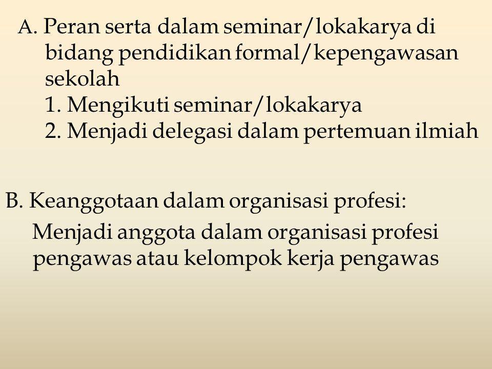 A. Peran serta dalam seminar/lokakarya di bidang pendidikan formal/kepengawasan sekolah 1. Mengikuti seminar/lokakarya 2. Menjadi delegasi dalam perte