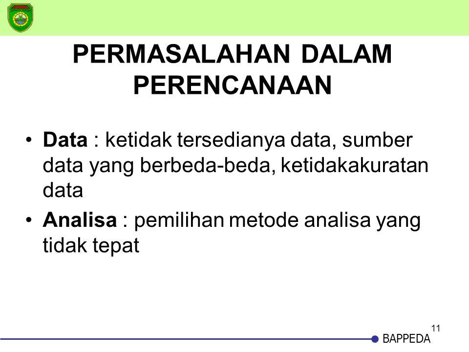 11 BAPPEDA PERMASALAHAN DALAM PERENCANAAN •Data : ketidak tersedianya data, sumber data yang berbeda-beda, ketidakakuratan data •Analisa : pemilihan m