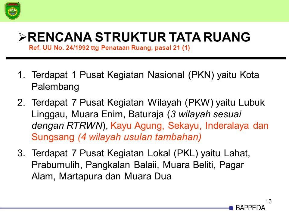 13 BAPPEDA  RENCANA STRUKTUR TATA RUANG 1.Terdapat 1 Pusat Kegiatan Nasional (PKN) yaitu Kota Palembang 2.Terdapat 7 Pusat Kegiatan Wilayah (PKW) yai