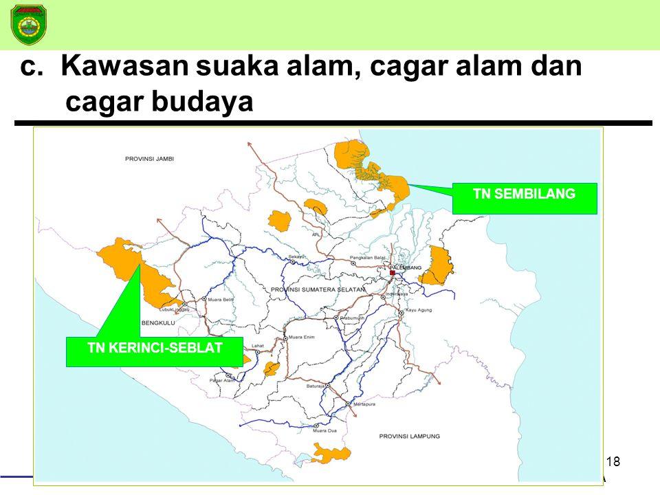 18 BAPPEDA c. Kawasan suaka alam, cagar alam dan cagar budaya TN SEMBILANG TN KERINCI-SEBLAT