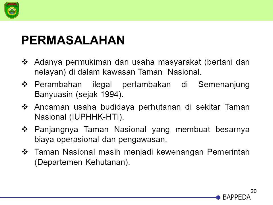 20 BAPPEDA  Adanya permukiman dan usaha masyarakat (bertani dan nelayan) di dalam kawasan Taman Nasional.  Perambahan ilegal pertambakan di Semenanj
