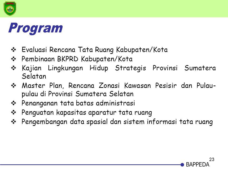 23 BAPPEDA  Evaluasi Rencana Tata Ruang Kabupaten/Kota  Pembinaan BKPRD Kabupaten/Kota  Kajian Lingkungan Hidup Strategis Provinsi Sumatera Selatan