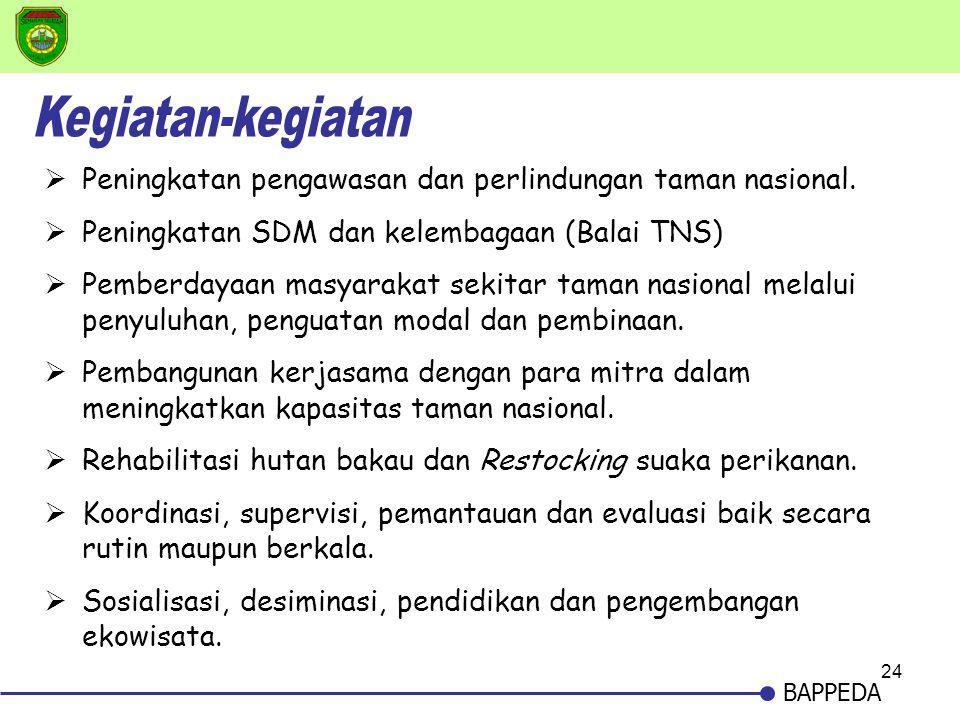 24 BAPPEDA  Peningkatan pengawasan dan perlindungan taman nasional.  Peningkatan SDM dan kelembagaan (Balai TNS)  Pemberdayaan masyarakat sekitar t