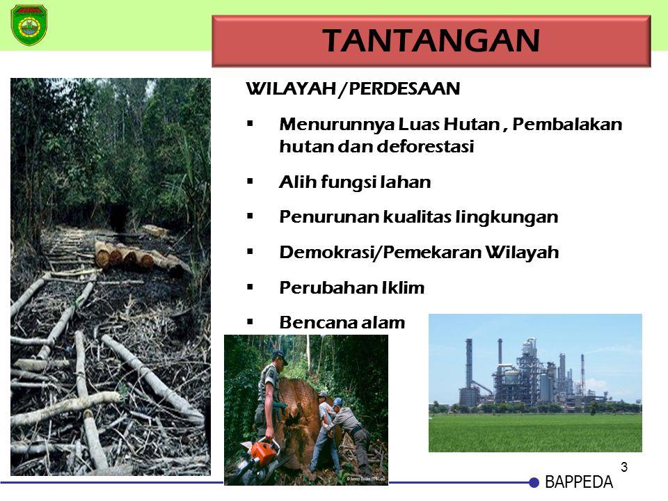 3 BAPPEDA TANTANGAN WILAYAH /PERDESAAN Menurunnya Luas Hutan, Pembalakan hutan dan deforestasi Alih fungsi lahan Penurunan kualitas lingkungan Dem