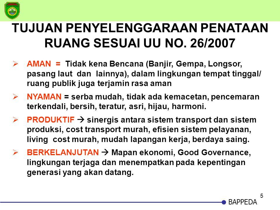 5 BAPPEDA TUJUAN PENYELENGGARAAN PENATAAN RUANG SESUAI UU NO. 26/2007  AMAN = Tidak kena Bencana (Banjir, Gempa, Longsor, pasang laut dan lainnya), d