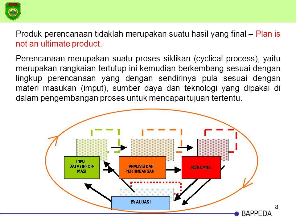 8 BAPPEDA Produk perencanaan tidaklah merupakan suatu hasil yang final – Plan is not an ultimate product. Perencanaan merupakan suatu proses siklikan