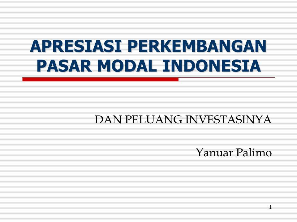 1 APRESIASI PERKEMBANGAN PASAR MODAL INDONESIA DAN PELUANG INVESTASINYA Yanuar Palimo