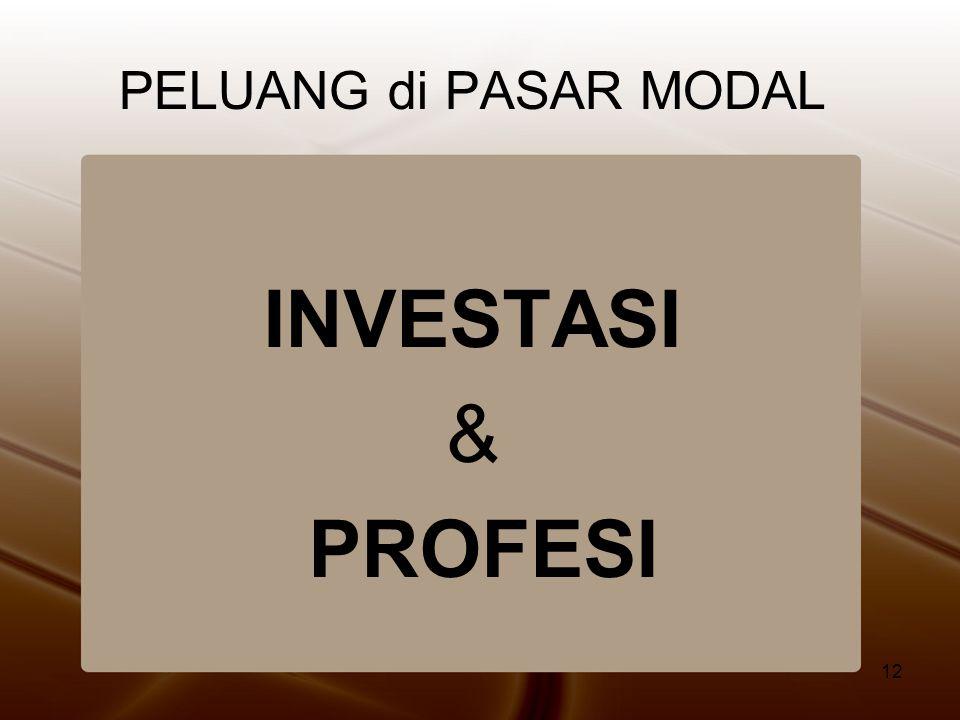 12 PELUANG di PASAR MODAL INVESTASI & PROFESI