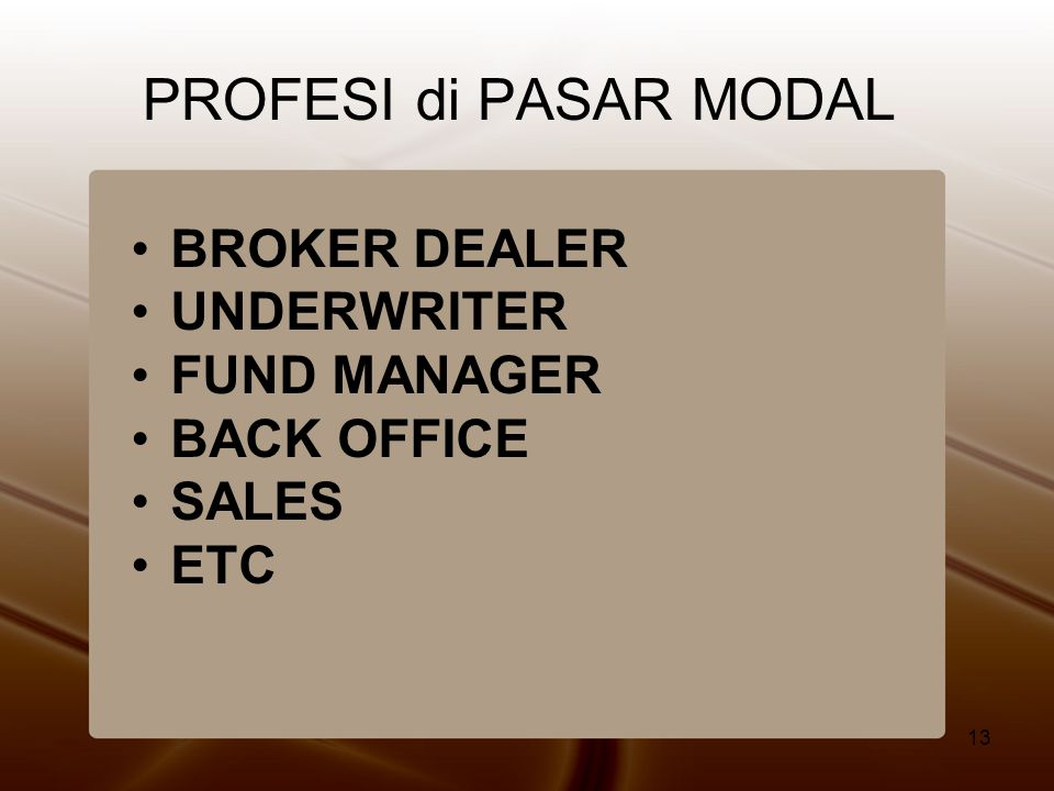 13 PROFESI di PASAR MODAL •BROKER DEALER •UNDERWRITER •FUND MANAGER •BACK OFFICE •SALES •ETC