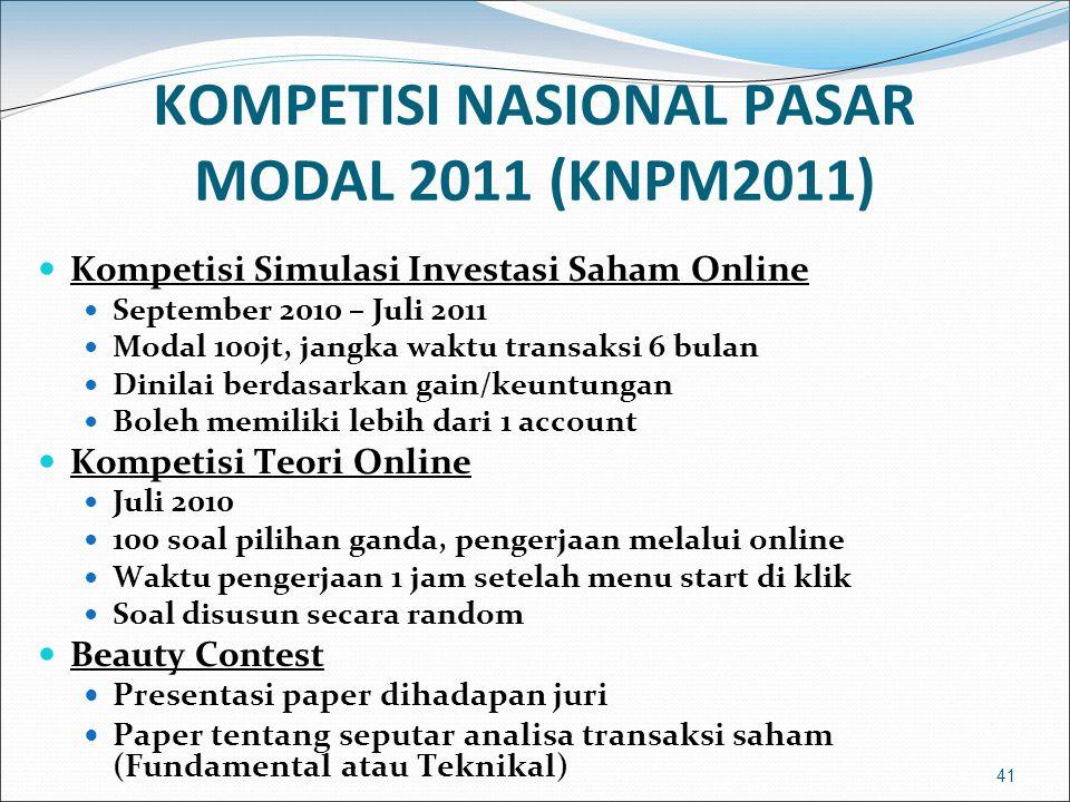 41 KOMPETISI NASIONAL PASAR MODAL 2011 (KNPM2011)  Kompetisi Simulasi Investasi Saham Online  September 2010 – Juli 2011  Modal 100jt, jangka waktu