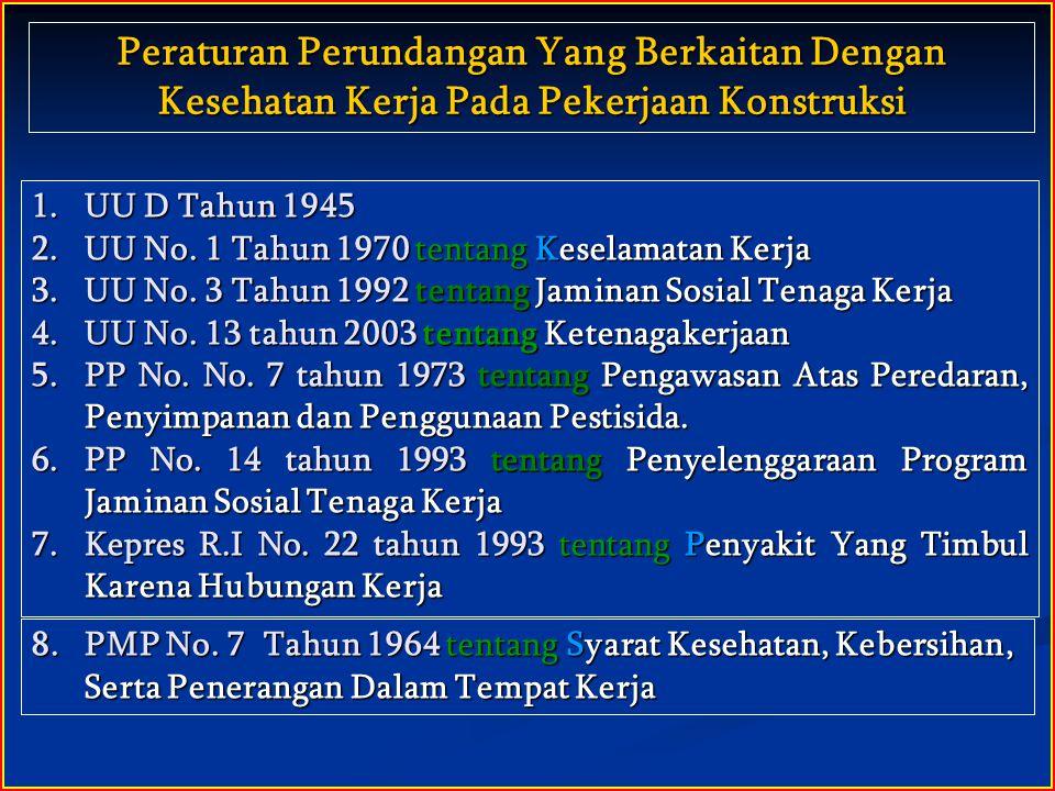 1.UU D Tahun 1945 2.UU No. 1 Tahun 1970 tentang Keselamatan Kerja 3.UU No. 3 Tahun 1992 tentang Jaminan Sosial Tenaga Kerja 4.UU No. 13 tahun 2003 ten