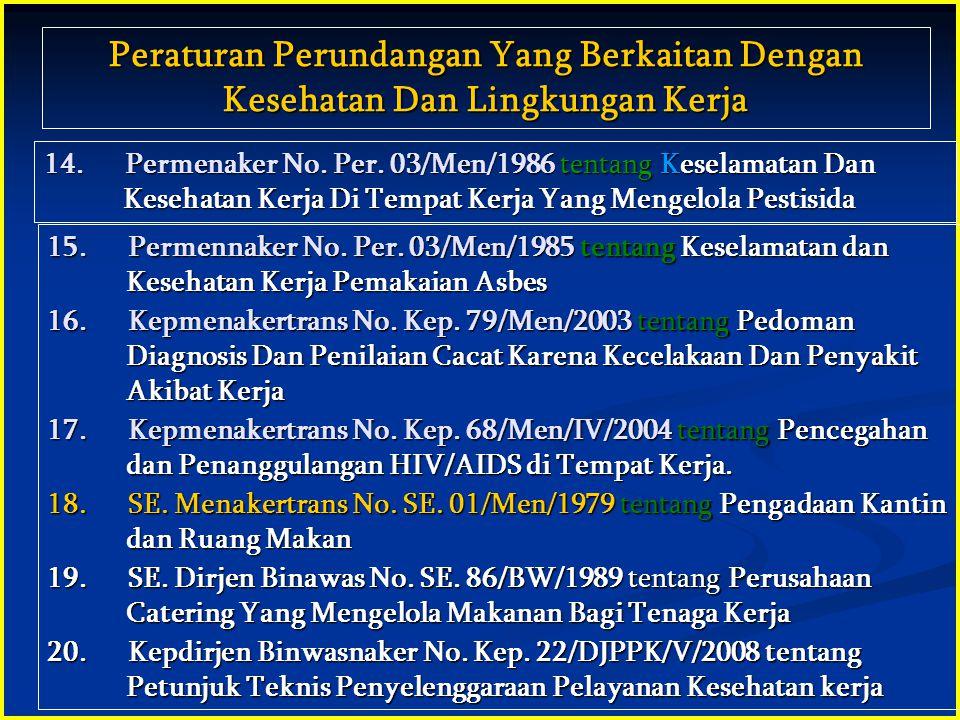 • Pasal 27 ayat (2) UUD 1945 : Tiap-tiap warga negara berhak atas pekerjaan dan penghidupan yang layak bagi kemanusiaan Tiap-tiap warga negara berhak atas pekerjaan dan penghidupan yang layak bagi kemanusiaan • UU No.14 Tahun 1969 tentang Ketentuan-ketentuan Pokok Mengenai ketenagakerjaan Pasal 3 Pasal 3 Tiap tenaga kerja berhak atas pekerjaan dan penghasilan yang layak bagi kemanusiaan Tiap tenaga kerja berhak atas pekerjaan dan penghasilan yang layak bagi kemanusiaan Pasal 9 Tiap tenaga kerja berhak mendapat perlindungan atas keselamatan, kesehatan, kesusilaan, pemeliharaan moril kerja serta perlakuan yang sesuai dengan martabat manusia dan moral agama Pasal 10 Pemerintah membina norma perlindunggan tenaga kerja yang meliputi norma keselamatan kerja, norma kesehatan kerja, norma kerja, pemberian ganti kerugian, perawatan dan rehabilitasi dalam hal kecelakaan kerja DASAR HUKUM UUD 1945