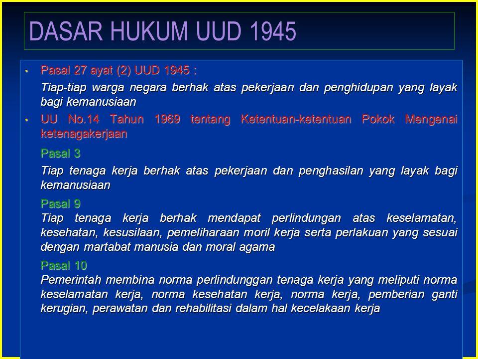 • Pasal 27 ayat (2) UUD 1945 : Tiap-tiap warga negara berhak atas pekerjaan dan penghidupan yang layak bagi kemanusiaan Tiap-tiap warga negara berhak