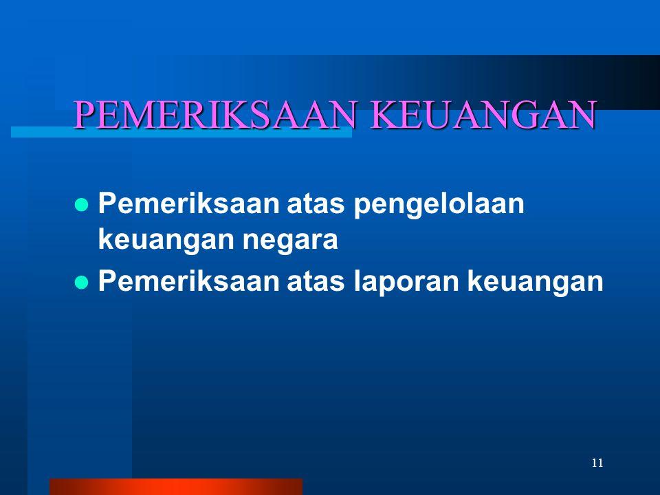 11 PEMERIKSAAN KEUANGAN  Pemeriksaan atas pengelolaan keuangan negara  Pemeriksaan atas laporan keuangan