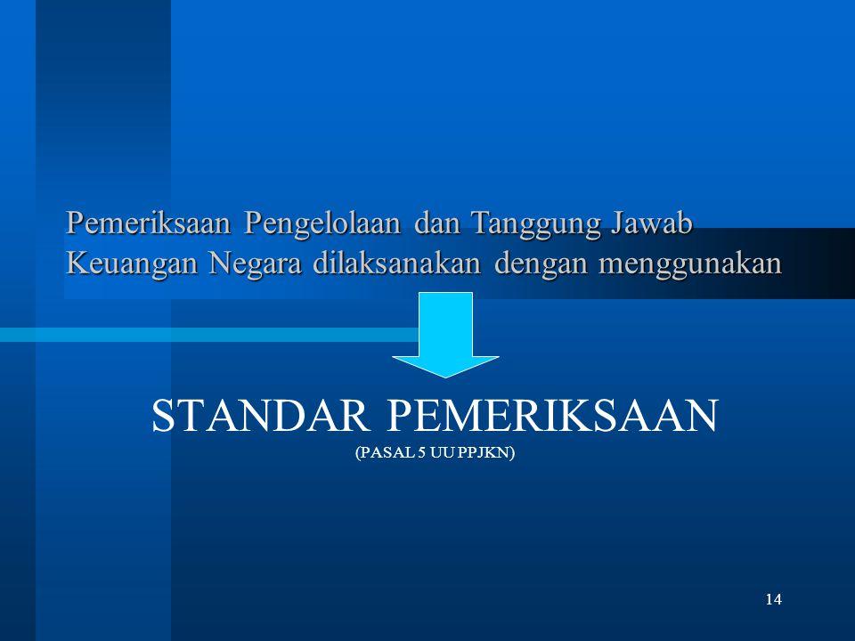 14 Pemeriksaan Pengelolaan dan Tanggung Jawab Keuangan Negara dilaksanakan dengan menggunakan STANDAR PEMERIKSAAN (PASAL 5 UU PPJKN)