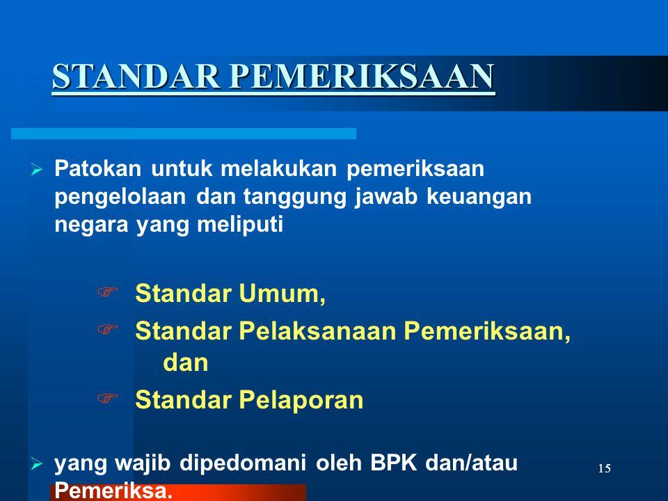 15  Patokan untuk melakukan pemeriksaan pengelolaan dan tanggung jawab keuangan negara yang meliputi  Standar Umum,  Standar Pelaksanaan Pemeriksaa