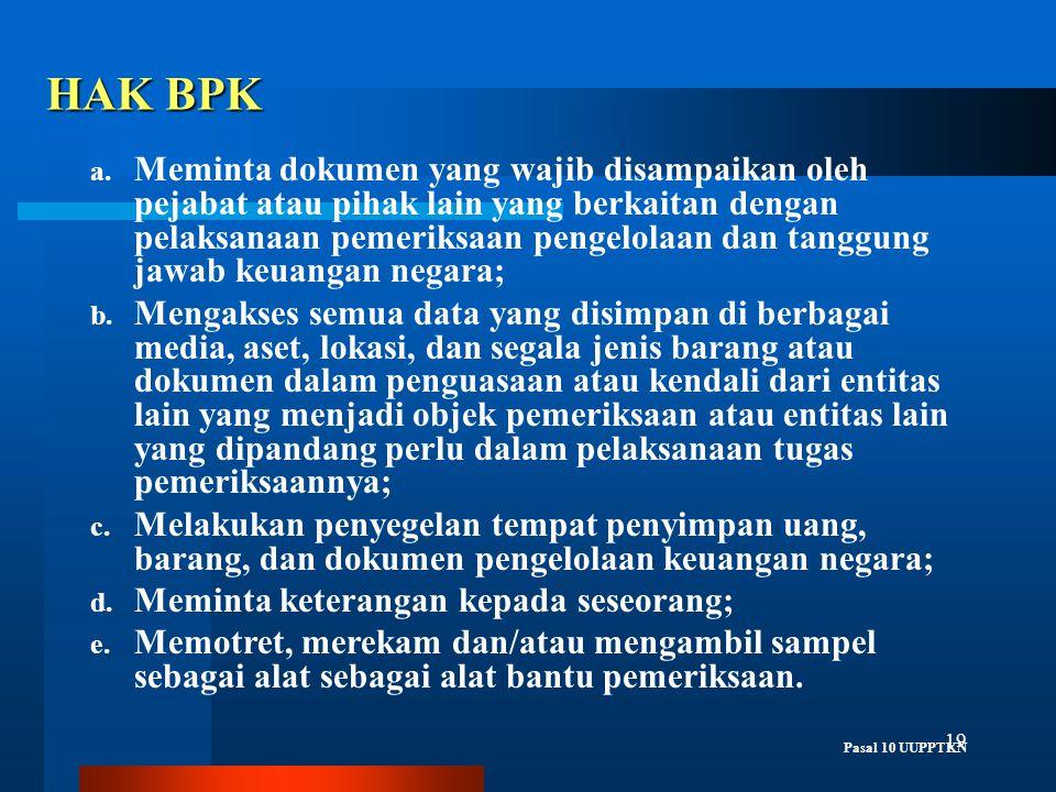 19 HAK BPK a. Meminta dokumen yang wajib disampaikan oleh pejabat atau pihak lain yang berkaitan dengan pelaksanaan pemeriksaan pengelolaan dan tanggu